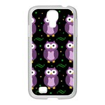 Halloween purple owls pattern Samsung GALAXY S4 I9500/ I9505 Case (White)