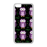 Halloween purple owls pattern Apple iPhone 5C Seamless Case (White)