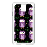 Halloween purple owls pattern Samsung Galaxy Note 3 N9005 Case (White)