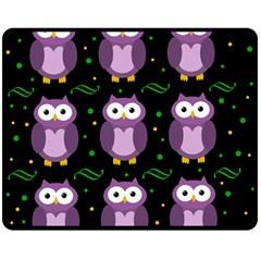 Halloween Purple Owls Pattern Double Sided Fleece Blanket (medium)