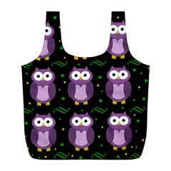 Halloween Purple Owls Pattern Full Print Recycle Bags (l)