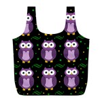 Halloween purple owls pattern Full Print Recycle Bags (L)  Back