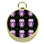 Halloween purple owls pattern Gold Compasses
