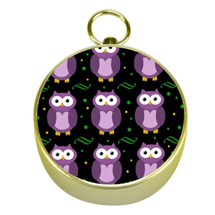 Halloween purple owls pattern Gold Compasses
