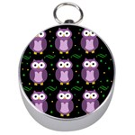 Halloween purple owls pattern Silver Compasses Front