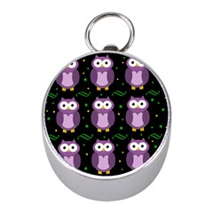 Halloween Purple Owls Pattern Mini Silver Compasses