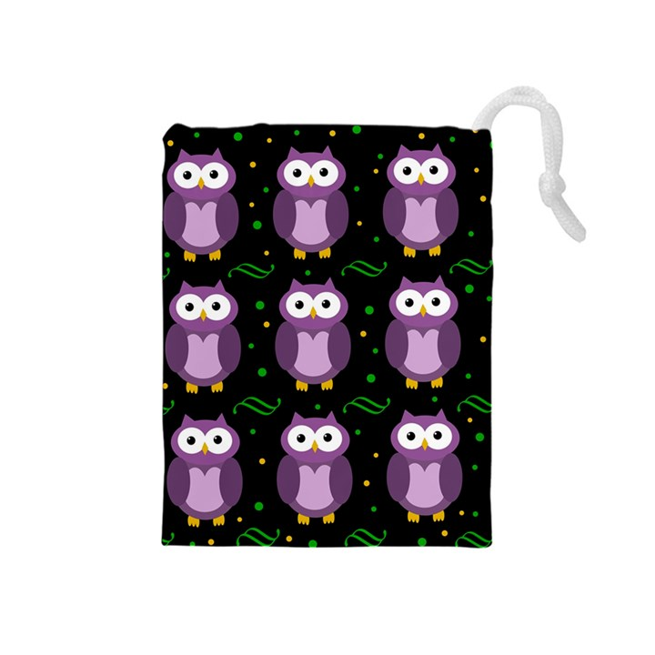 Halloween purple owls pattern Drawstring Pouches (Medium)