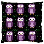 Halloween purple owls pattern Large Flano Cushion Case (Two Sides) Back