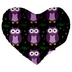 Halloween purple owls pattern Large 19  Premium Flano Heart Shape Cushions