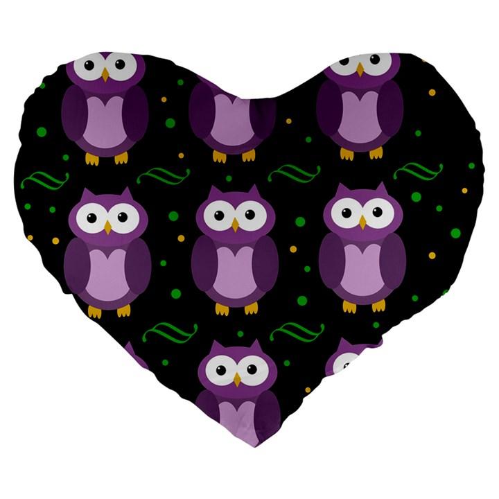 Halloween purple owls pattern Large 19  Premium Flano Heart Shape Cushions