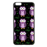 Halloween purple owls pattern Apple iPhone 6 Plus/6S Plus Black Enamel Case