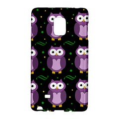 Halloween Purple Owls Pattern Galaxy Note Edge by Valentinaart