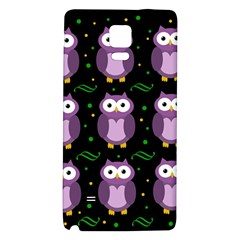 Halloween Purple Owls Pattern Galaxy Note 4 Back Case by Valentinaart