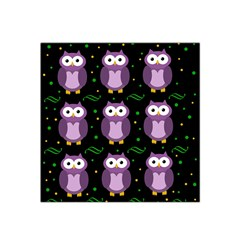 Halloween Purple Owls Pattern Satin Bandana Scarf