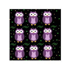 Halloween Purple Owls Pattern Small Satin Scarf (square)