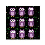 Halloween purple owls pattern Small Satin Scarf (Square) Front