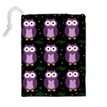 Halloween purple owls pattern Drawstring Pouches (Extra Large) Back