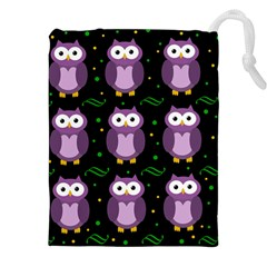 Halloween Purple Owls Pattern Drawstring Pouches (xxl)