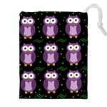 Halloween purple owls pattern Drawstring Pouches (XXL) Front
