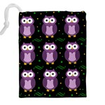 Halloween purple owls pattern Drawstring Pouches (XXL) Back