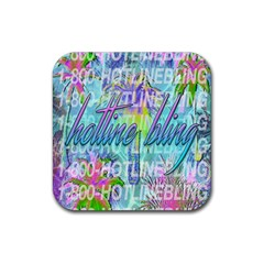 Drake 1 800 Hotline Bling Rubber Square Coaster (4 Pack)  by Onesevenart