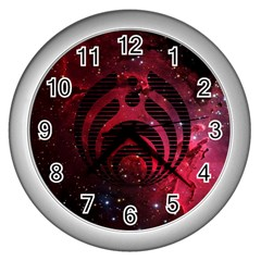 Bassnectar Galaxy Nebula Wall Clocks (silver)  by Onesevenart