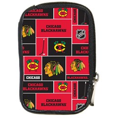 Chicago Blackhawks Nhl Block Fleece Fabric Compact Camera Cases by Onesevenart