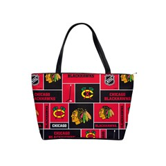 Chicago Blackhawks Nhl Block Fleece Fabric Shoulder Handbags by Onesevenart