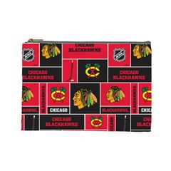 Chicago Blackhawks Nhl Block Fleece Fabric Cosmetic Bag (large)  by Onesevenart