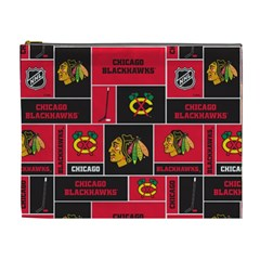 Chicago Blackhawks Nhl Block Fleece Fabric Cosmetic Bag (xl) by Onesevenart