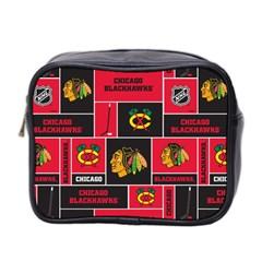 Chicago Blackhawks Nhl Block Fleece Fabric Mini Toiletries Bag 2 Side by Onesevenart
