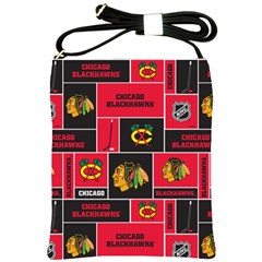 Chicago Blackhawks Nhl Block Fleece Fabric Shoulder Sling Bags by Onesevenart