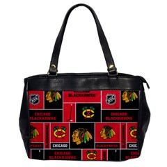 Chicago Blackhawks Nhl Block Fleece Fabric Office Handbags by Onesevenart