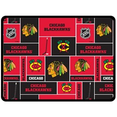 Chicago Blackhawks Nhl Block Fleece Fabric Fleece Blanket (large)  by Onesevenart
