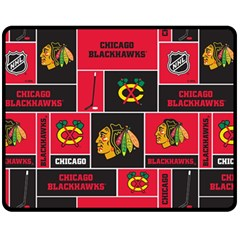 Chicago Blackhawks Nhl Block Fleece Fabric Fleece Blanket (medium)  by Onesevenart