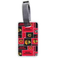 Chicago Blackhawks Nhl Block Fleece Fabric Luggage Tags (one Side)  by Onesevenart