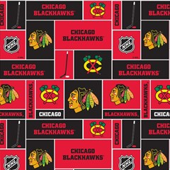 Chicago Blackhawks Nhl Block Fleece Fabric Magic Photo Cubes by Onesevenart