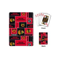 Chicago Blackhawks Nhl Block Fleece Fabric Playing Cards (mini)  by Onesevenart