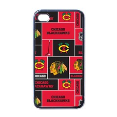 Chicago Blackhawks Nhl Block Fleece Fabric Apple Iphone 4 Case (black) by Onesevenart