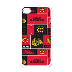 Chicago Blackhawks Nhl Block Fleece Fabric Apple Iphone 4 Case (white) by Onesevenart