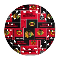 Chicago Blackhawks Nhl Block Fleece Fabric Round Filigree Ornament (2side) by Onesevenart