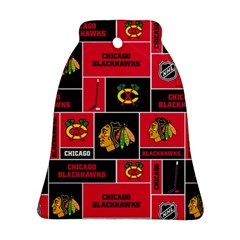 Chicago Blackhawks Nhl Block Fleece Fabric Bell Ornament (2 Sides) by Onesevenart