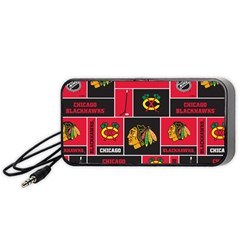 Chicago Blackhawks Nhl Block Fleece Fabric Portable Speaker (black)  by Onesevenart