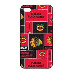 Chicago Blackhawks Nhl Block Fleece Fabric Apple Iphone 4/4s Seamless Case (black) by Onesevenart