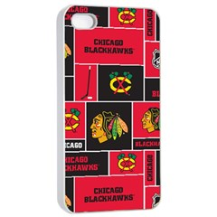 Chicago Blackhawks Nhl Block Fleece Fabric Apple Iphone 4/4s Seamless Case (white) by Onesevenart