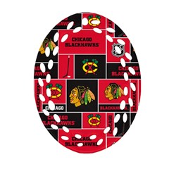Chicago Blackhawks Nhl Block Fleece Fabric Oval Filigree Ornament (2 Side)  by Onesevenart