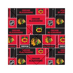 Chicago Blackhawks Nhl Block Fleece Fabric Acrylic Tangram Puzzle (6  X 6 ) by Onesevenart