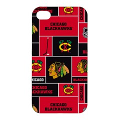 Chicago Blackhawks Nhl Block Fleece Fabric Apple Iphone 4/4s Premium Hardshell Case by Onesevenart