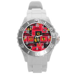 Chicago Blackhawks Nhl Block Fleece Fabric Round Plastic Sport Watch (l) by Onesevenart