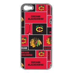 Chicago Blackhawks Nhl Block Fleece Fabric Apple Iphone 5 Case (silver) by Onesevenart